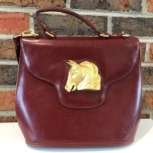 Vintage Bags - Vintage Maroon Equestrian Crossbody Purse